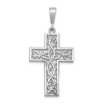 14k White Gold Thorn Cross Pendant