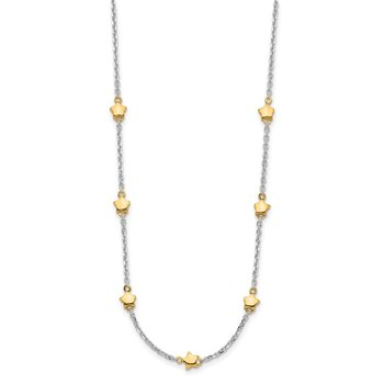Sterling Silver RH-plated/Gold-plated 7-Star w/1.5in ext Necklace