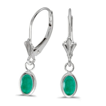 14k White Gold Oval Emerald Bezel Lever-back Earrings