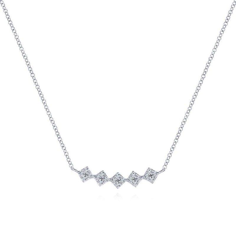 Bar Necklace Diamond Necklace Dainty Diamond Bar necklace NEC01909 Vertical Bar Necklace Pave White Gold Necklace 9 Stone Necklace