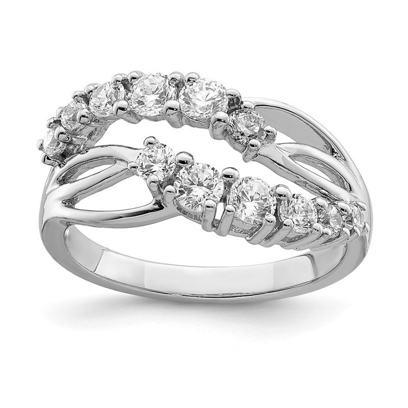 Quality Gold Sterling Silver Rhodium-plated 2-Row Wave CZ Ring