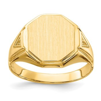 14k 12.5x11.5mm Open Back Diamond Men's Signet Ring Mounting