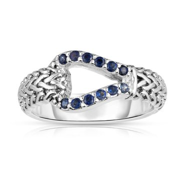 Sterling Silver Sapphire Woven Ring