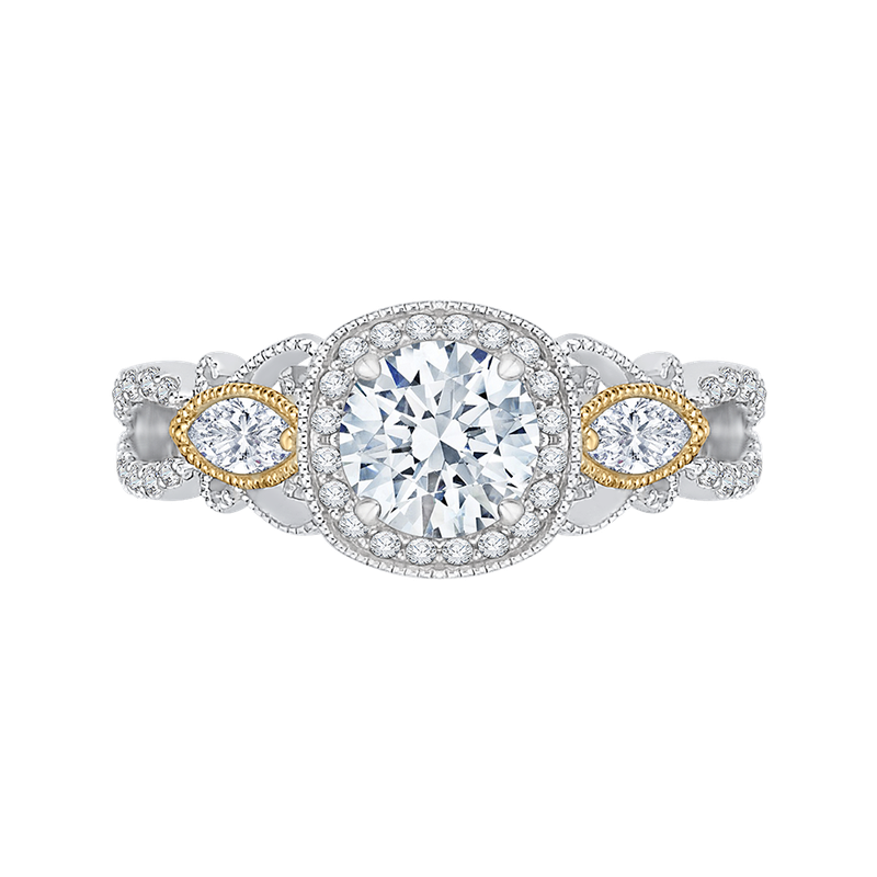Carizza 14K Tow-Tone Gold Round Diamond Halo Engagement Ring (Semi-Mount)