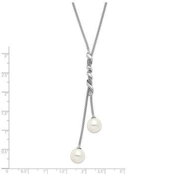Sterling Silver Majestik Rh-pl 10-11mm Wht Imitation Shell Pearl Necklace