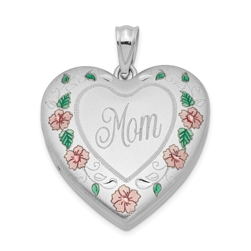 Quality Gold Sterling Silver Rhodium-plated 24mm Enameled, D/C Mom Heart Locket