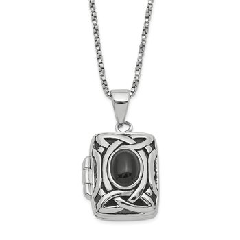 Sterling Silver Polished Onyx Square Locket Necklace