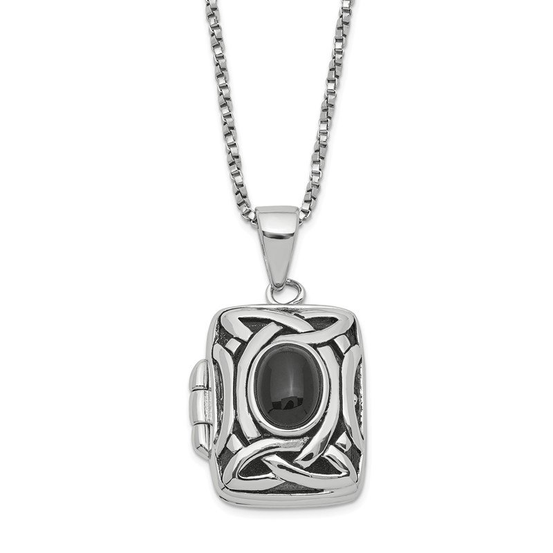 Quality Gold Sterling Silver Onyx Square Locket w/Chain