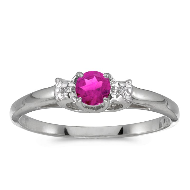 Color Merchants 14k White Gold Round Pink Topaz And Diamond Ring