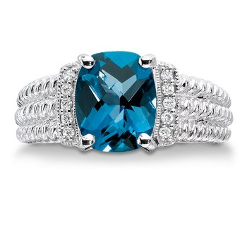 Sterling silver, diamond and london blue topaz ring