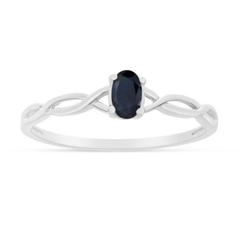 10k White Gold Oval Sapphire Ring
