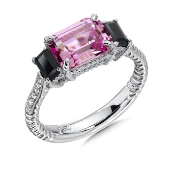 Sterling Silver, Created Pink Sapphire, Onyx, and Diamond Ring