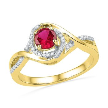 10kt Yellow Gold Womens Round Lab-Created Ruby Solitaire Diamond Twist Ring 3/4 Cttw