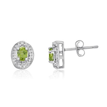 14k White Gold Peridot Earrings with Diamonds