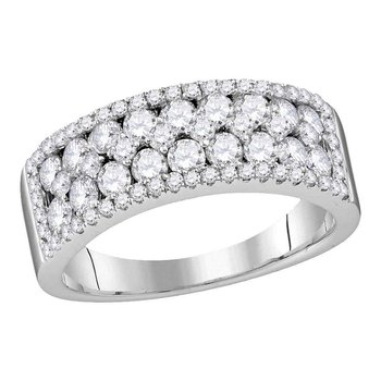 10kt White Gold Womens Round Pave-set Diamond Double Two Row Band Ring 1-1/2 Cttw