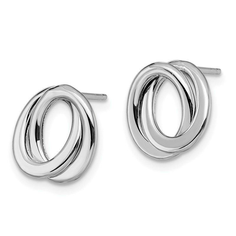Leslie S 14k White Gold Polished Love Knot Earrings