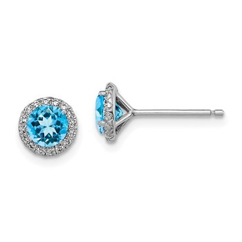 Sterling Silver Rhodium-plated Blue Topaz & CZ Post Earrings