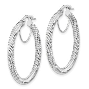 14k 3x25mm White Gold Twisted Round Hoop Earrings