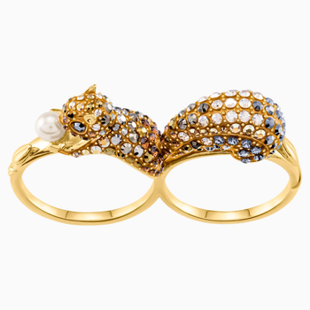 March Squirrel Double Motif Ring, Multi-colored, Gold-tone plated