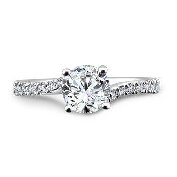 Criss Cross Engagement Ring with Diamond Side Stones in 14K White Gold (1ct. tw.)
