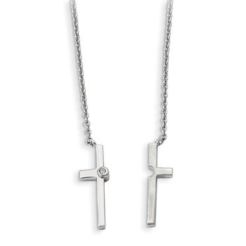 Sterling Silver Polished&Satin w/Sapphire Magnetic Cross Adjustable Necklac