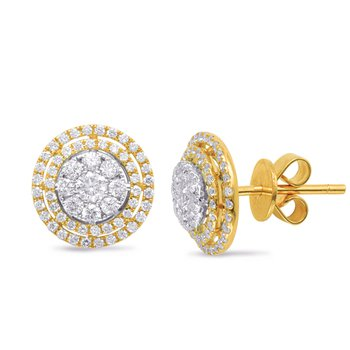 White & Yellow Gold Diamond Earring