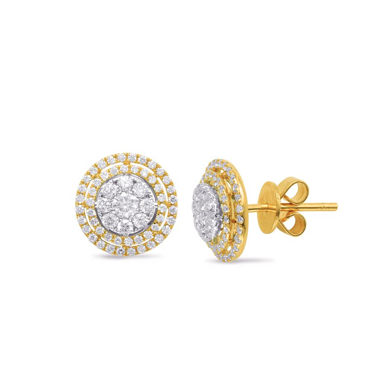 S. Kashi  & Sons White & Yellow Gold Diamond Earring