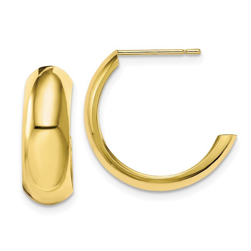 Quality Gold 10k Polished 6.5mm J-Hoop Earrings
