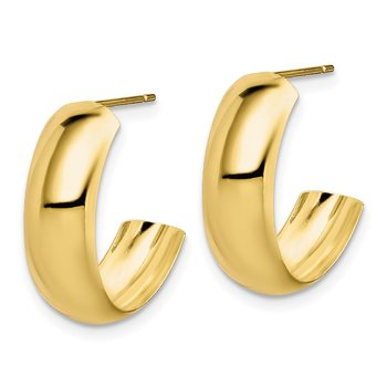 10k Polished 6.5mm J-Hoop Earrings