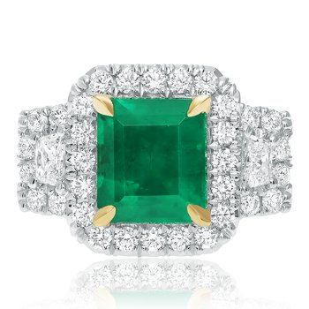 Square Emerald & Diamond Ring