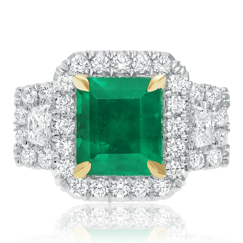 Roman & Jules Square Emerald & Diamond Ring