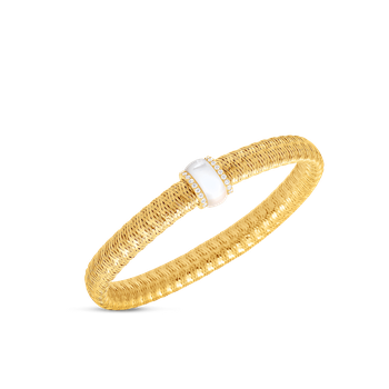 18Kt Gold Flexible Bangle With Diamonds And Mother Of Pearl