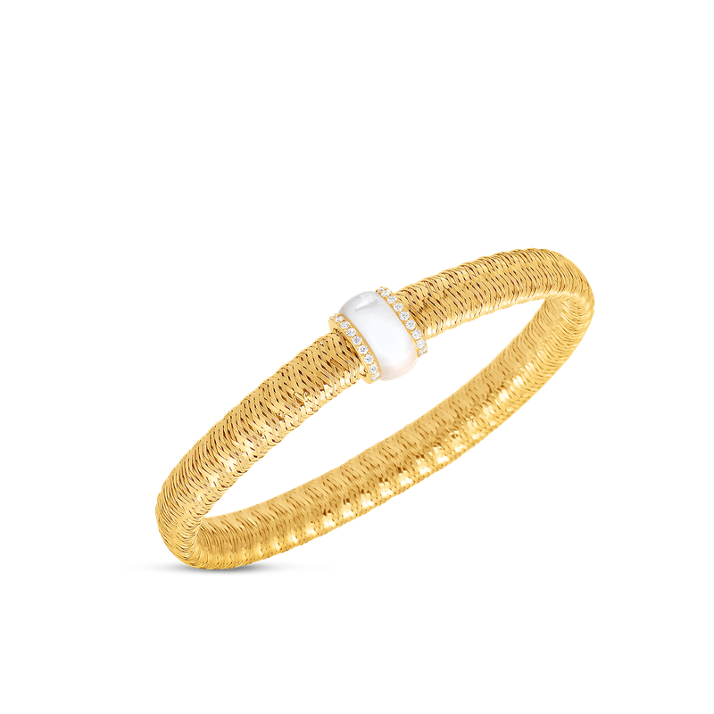 Roberto Coin 18Kt Gold Flexible Bangle With Diamonds And Mother Of Pearl