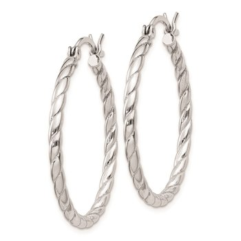 Sterling Silver Rhodium Plated 2x30mm Twisted Hoop Earrings