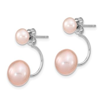 SS RH 5-6mm&8-9mm Pink Freshwater Cutured Pearl Dangle Earrings