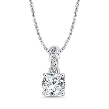 Round Diamond Solitaire Pendant with Diamond Bale in 14K White Gold (1 ct. tw.)