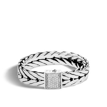 Modern Chain 16MM Bracelet in Silver with Diamonds
