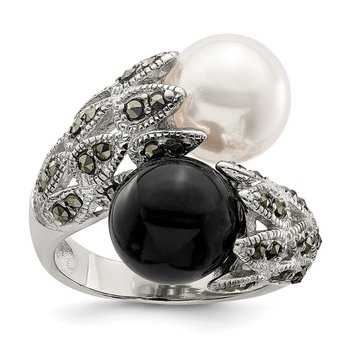 Sterling Silver RH Marcasite Black and White Plastic Imitation Pearl Ring