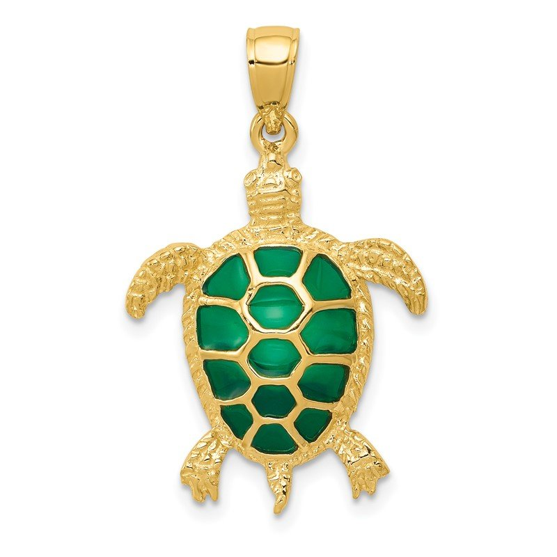Quality Gold 14K Green Enameled Sea Turtle Pendant