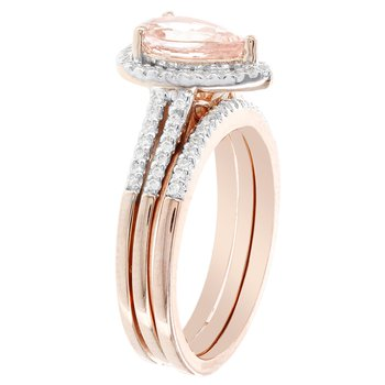14k Rose Gold Pear-shaped Morganite and 1/4-carat Diamond Bridal Set