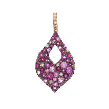 14k Rose Gold Teardrop Multi Sapphire and Diamond Pendant