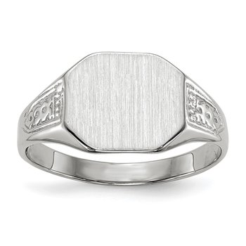 14k White Gold 9.0x10.5mm Closed Back Signet Ring