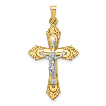 14k Two-tone Hollow Polished Fleur de Lis Crucifix