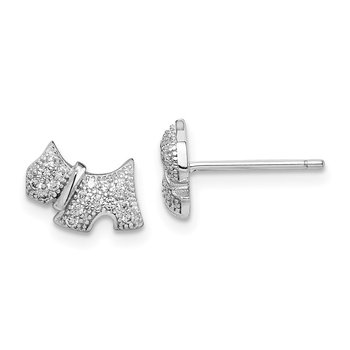 Sterling Silver Rhodium-plated Polished CZ Scottie Dog Post Earrings