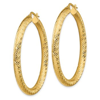 14k 4x35mm Diamond-cut Round Hoop Earrings