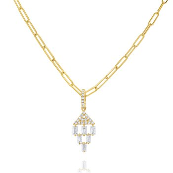 14k Round and Baguette Diamond Necklace