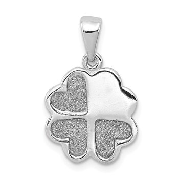 Sterling Silver Rhodium-plate Enamel Glitter Fabric Clover Hearts Pendant