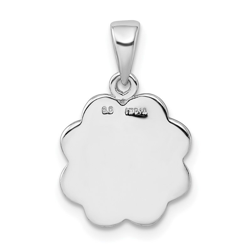 J.F. Kruse Signature Collection Sterling Silver Rhodium-plate Enamel Glitter Fabric Clover Hearts Pendant