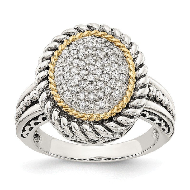 Shey Couture Sterling Silver w/14k Antiqued Diamond Ring