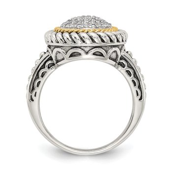 Sterling Silver w/14k Antiqued Diamond Ring